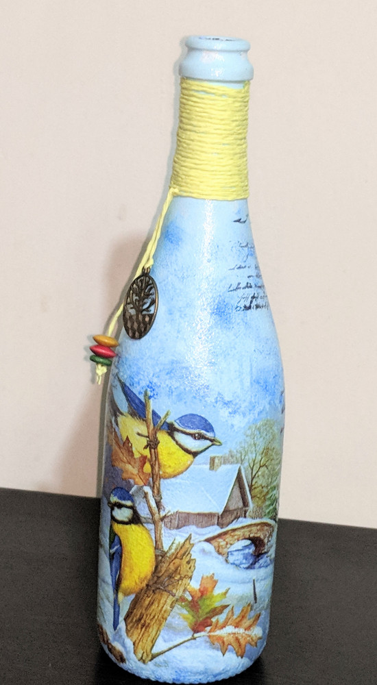 Decoupage bottle - Birds of Paradise