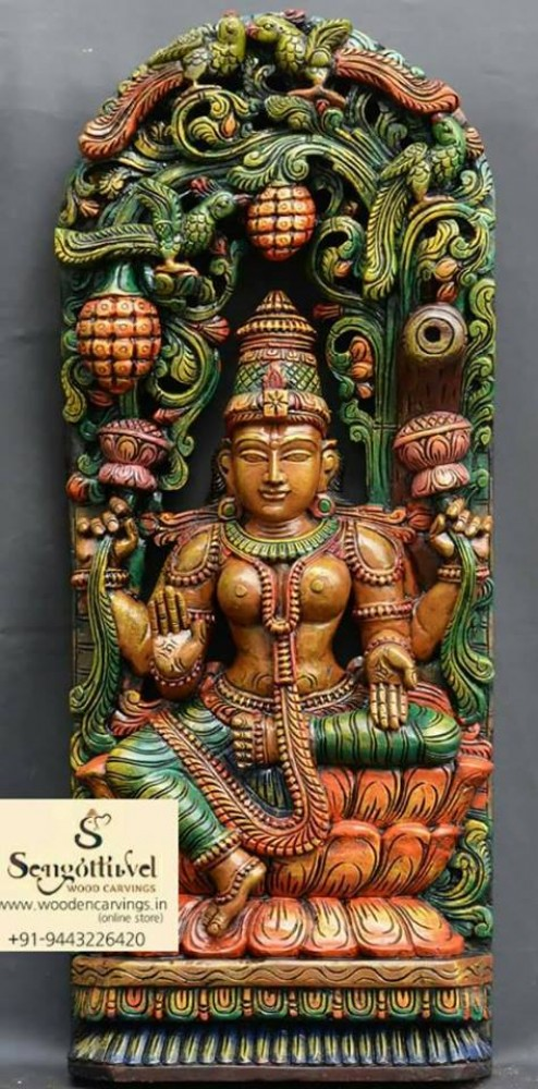 Wooden painted Lakshmi