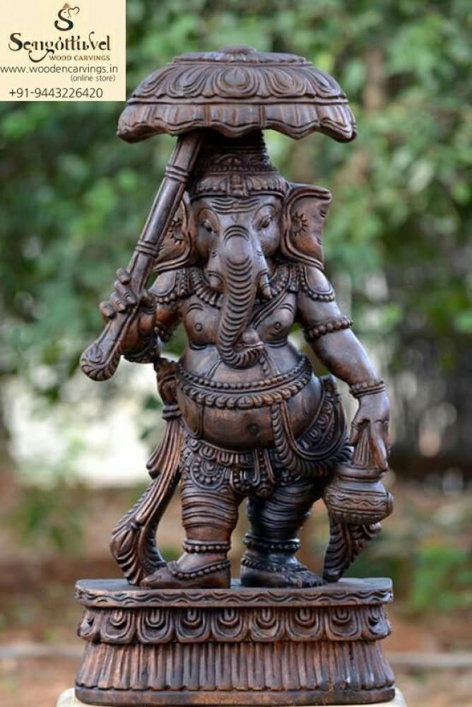 Wooden Umberla Ganesh