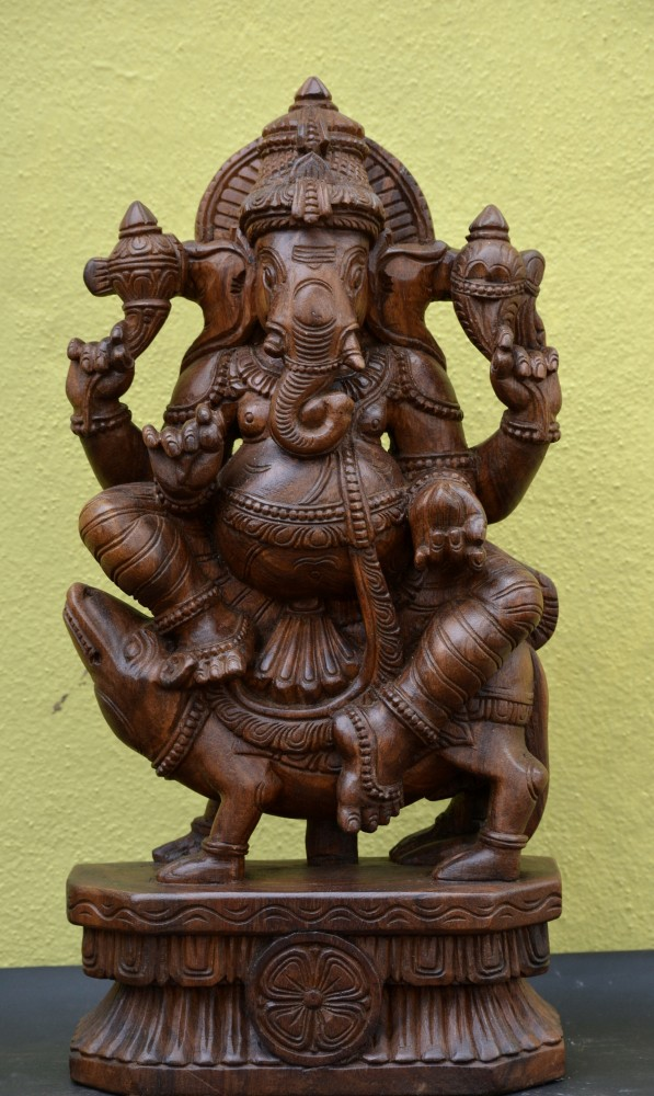 Wooden Ganesh on Mooshika